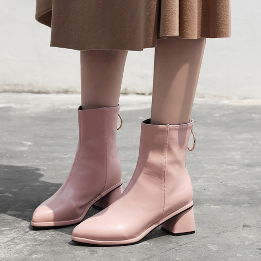 Pointed Toe Chunky Heel Back Zip Women's Ankle Boots