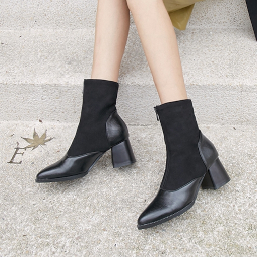 Pointed Toe Front Zipper Chunky Heel Patchwork Women's Ankle Boots