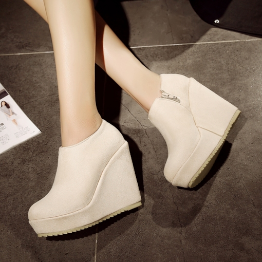 Wedge Heel Round Toe Suede Side Zipper Women's Ankle Boots