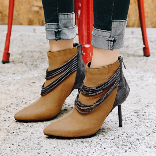Back Zip Pointed Toe Stiletto Heel Stylish Women's Ankle Boots