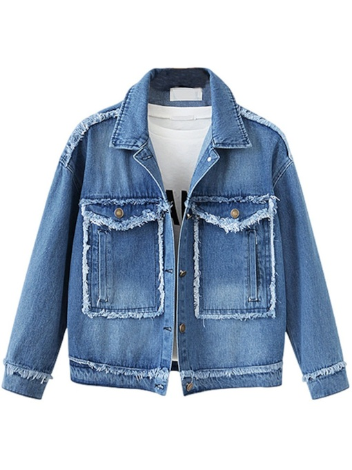 Tassel Double Jacket Notch Neck Women's Denim Jakcet