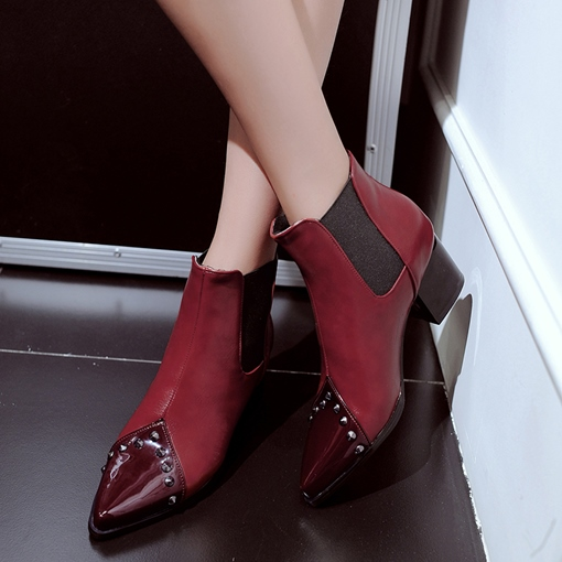 Pointed Toe Elastic Rivet Chunky Heel Women's Chelsea Ankle Boots
