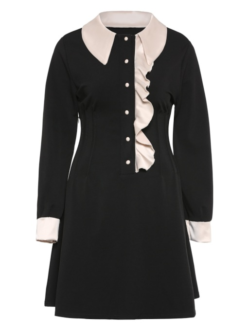 Round Neck Button Ruffle Long Sleeve Day Dress