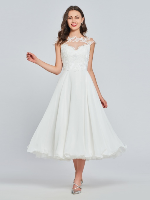 Cap Sleeves Button Lace Tea-Length Prom Dress
