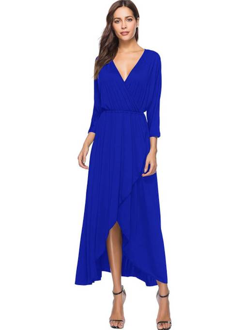 3/4Length Sleeve High Waist Elegant Maxi Dress