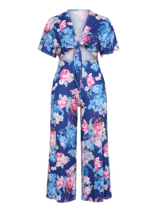 Floral Print Tie Front Top and Pants Women's Two Piece Set