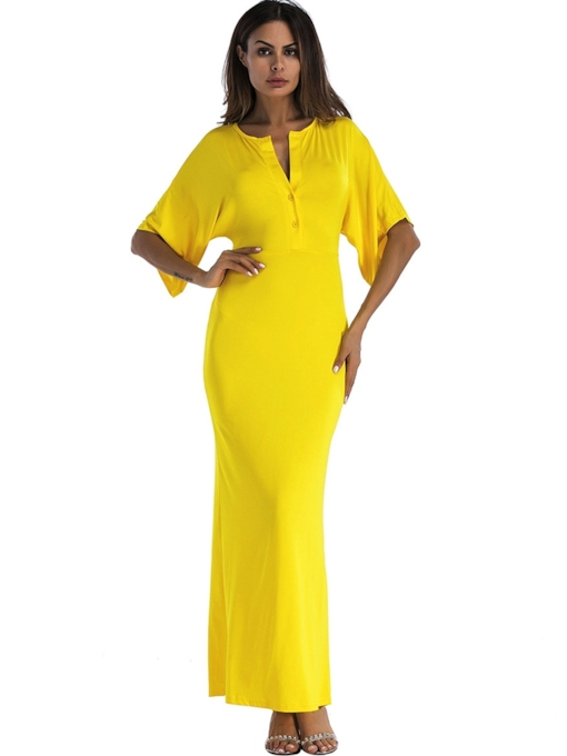 Keyhole Neck Half Sleeve Elegant Maxi Dress