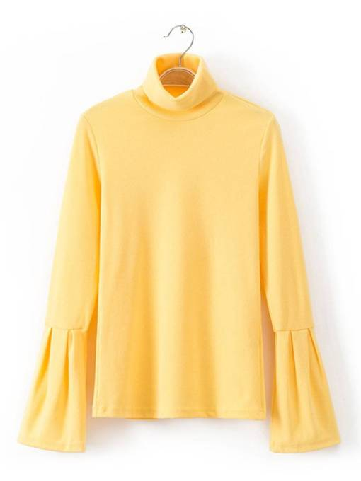 Flare Sleeve High Neck Women's Sweater