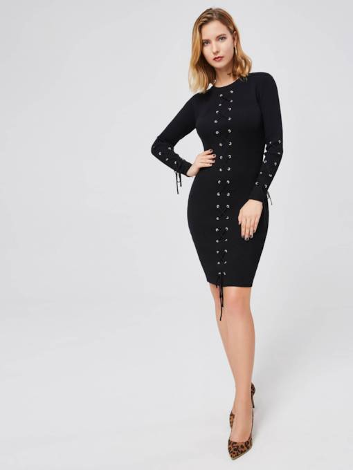Long Sleeve Button Bodycon Knit Sweater Dress