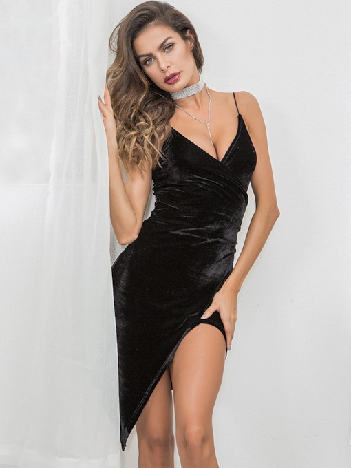 Spaghetti Strap Backless Plain Sexy Dress