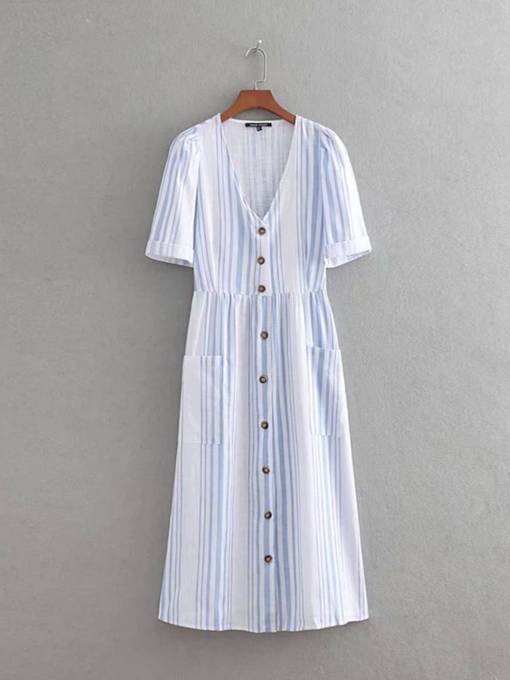 Short Sleeve Button Pocket Stripe Day Dress