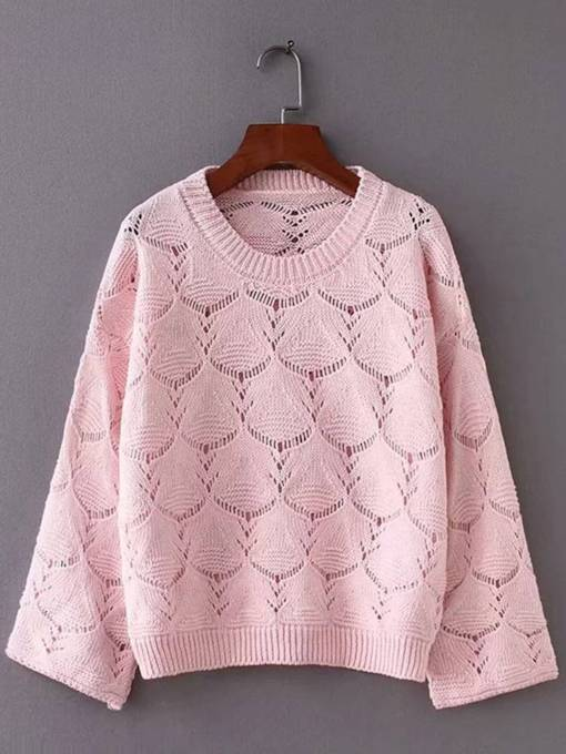 Hollow Out Round Neck Bell Sleeve Women's Sweater