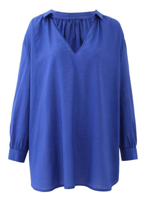 V Neck Loose Fit Solid Color Women's Blouse