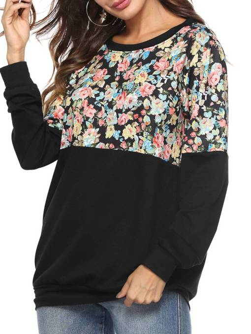 Floral Print Color Block Long Sleeve Women's Sweatshirt