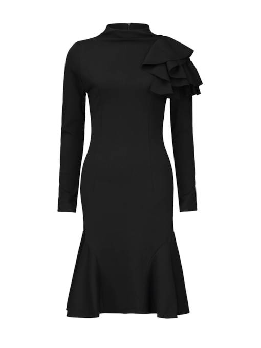 Stand Collar Ruffle Long Sleeve Sheath Dress