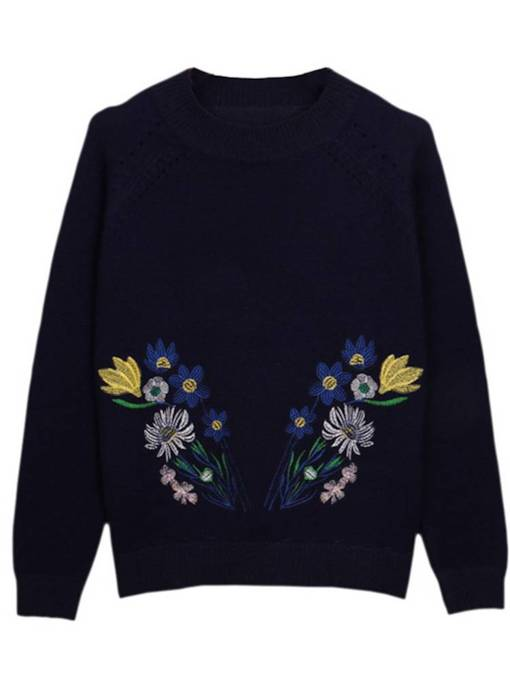 Floral Solid Color Women's Mock Neck Sweater