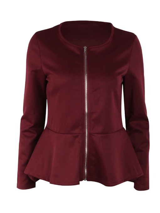 Tight Waist Peplum Zipper Up Women's Jacket