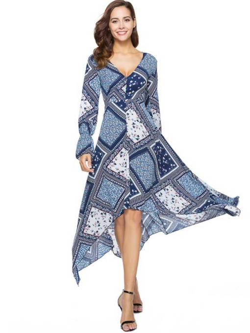 Long Sleeve Prints High Waist Maxi Dress