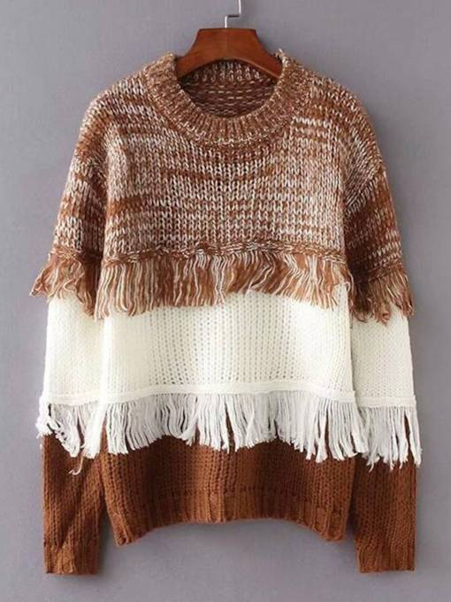 Tassel Contrast Color Round Neck Women's Sweater