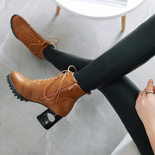 Round Toe Hollow Heel Lace Up Martin Boots for Women