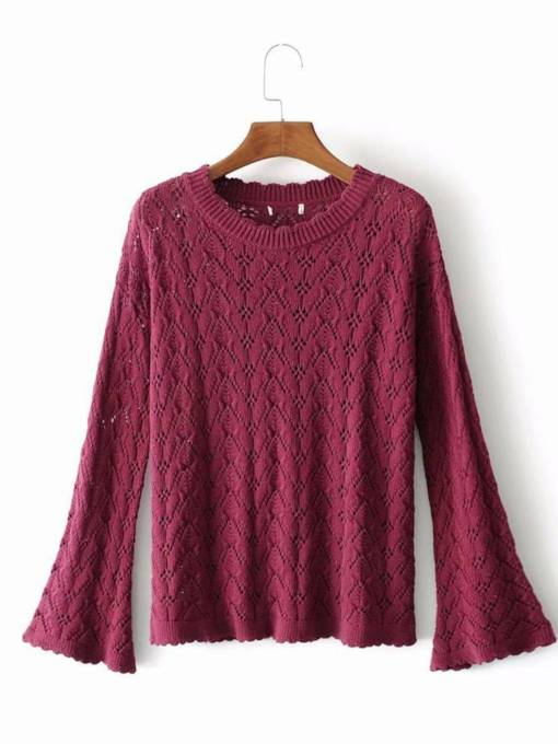 Plain Solid Color Bell Sleeve Women's Sweater