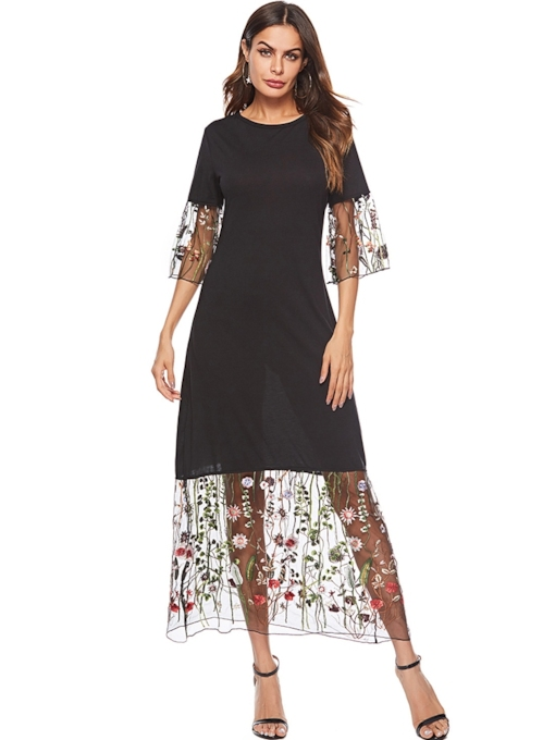 3/4Length Sleeve Elegant Floral Embroidery Maxi Dress