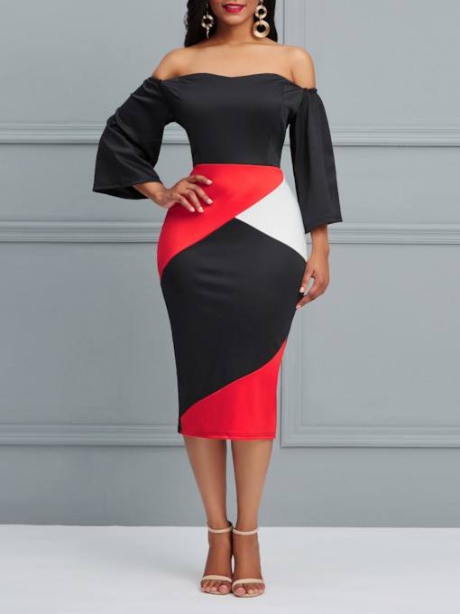 Nine Points Sleeve Patchwork Off Shoulder Women's Bodycon Dress