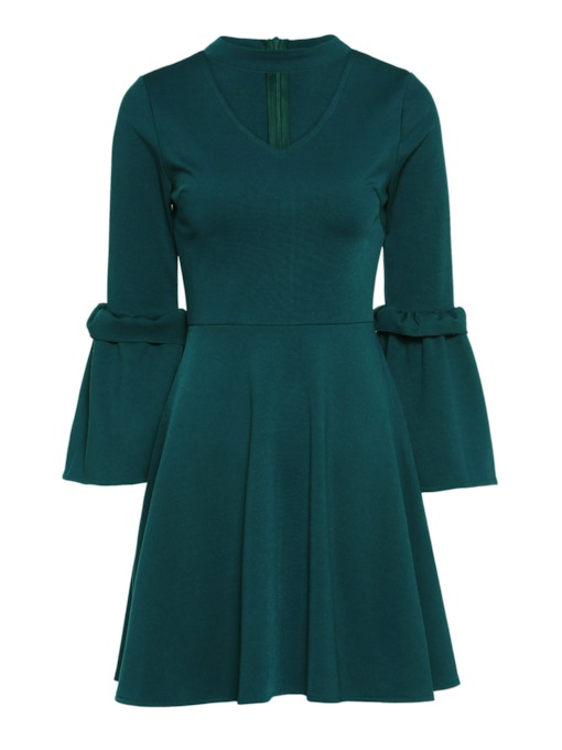 Bell Sleeve Hole Neck Women's Day Dress