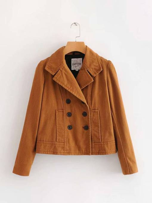 Double-Breasted Dual Pocket Lapel Women's Jacket