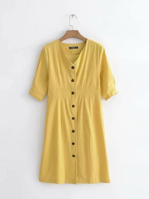 Yellow Short Sleeve Button Women's Day Dress