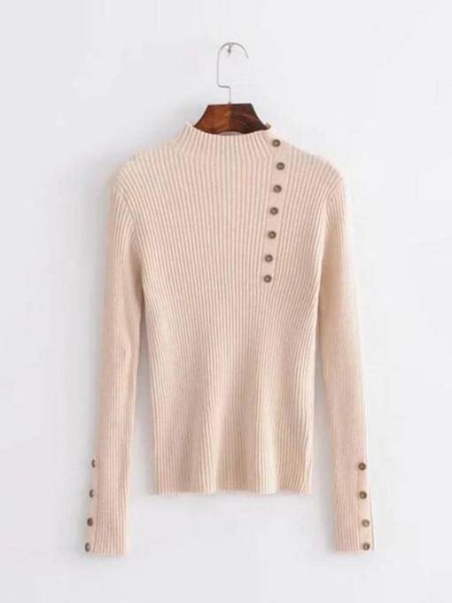 High Neck Button Decor Solid Color Women's Sweater