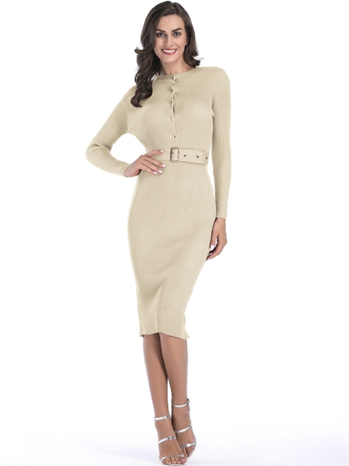Round Neck Button Belt Long Sleeve Sweater Dress