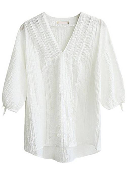 V-Neck Tie Sleeve Solid Color Women's Blouse