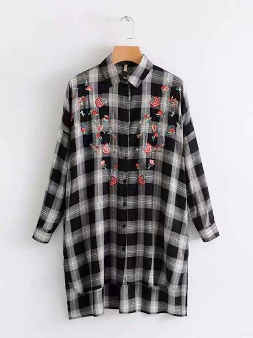 Floral Embroidery Plaid Print Mid Length Women's Shirt