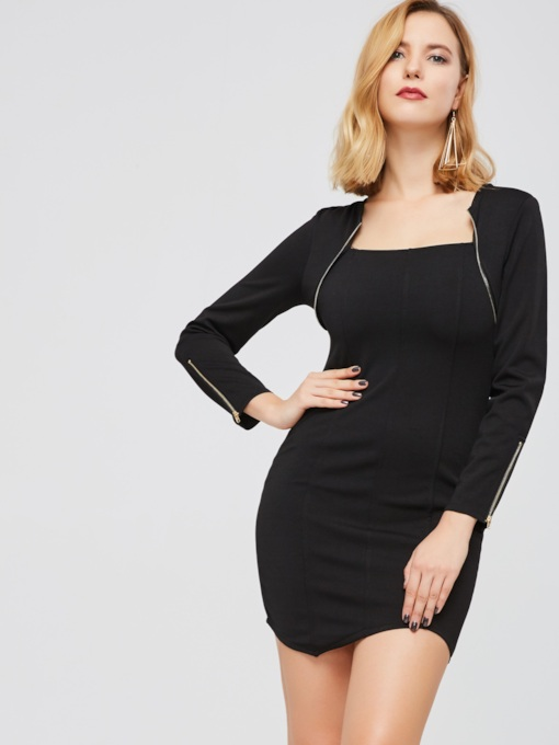 Black Zippered Women's Bodycon Dress