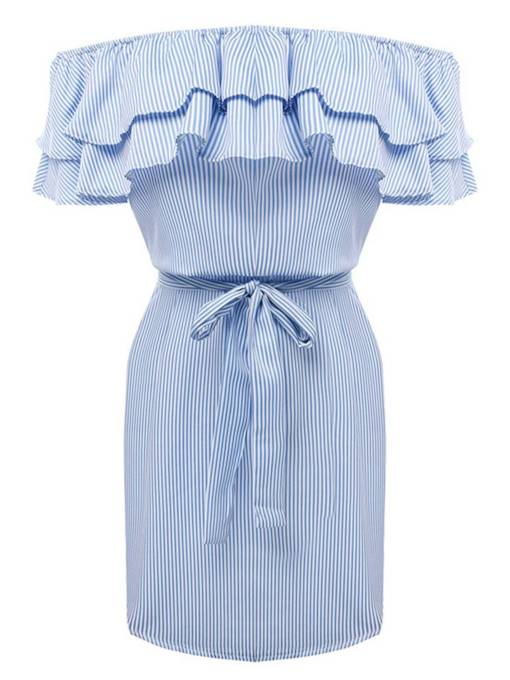 Off Shoulder Ruffle Stripe Belt Day Dress