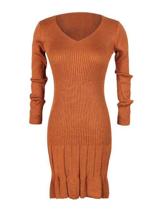 V-Neck Long Sleeve Women's Sweater Dress