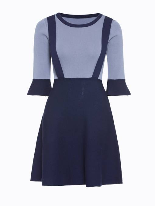 Round Neck Flare Sleeve Women's Day Dress