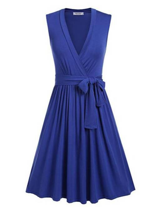 V-Neck Sleeveless Belt Ruffle Day Dress