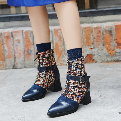Chunky Heel Patchwork Color Block Women's Ankle Boots