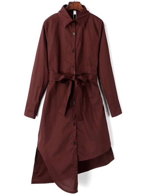 Long Sleeve Belt Button Bowknot Casual Dress