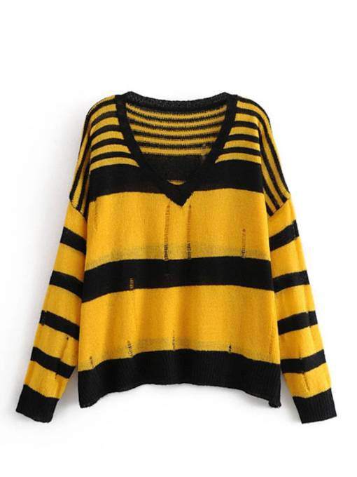 Ripped V-Neck Stripe Color Block Women's Sweater