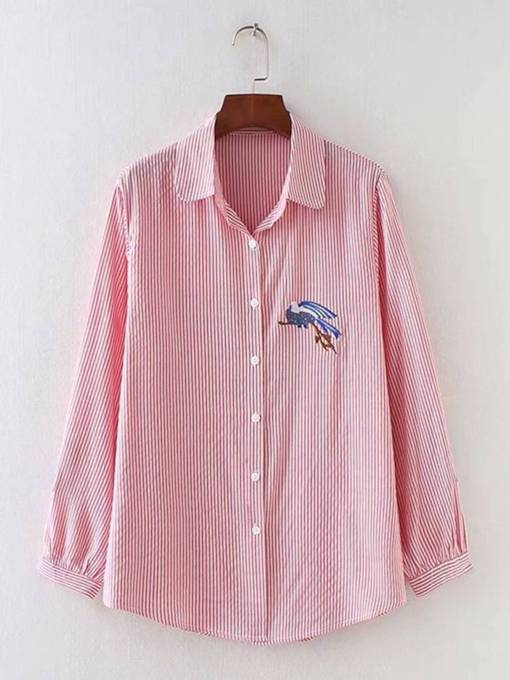 Embroidery Vertical Stripe Single-Breasted Women's Shirt