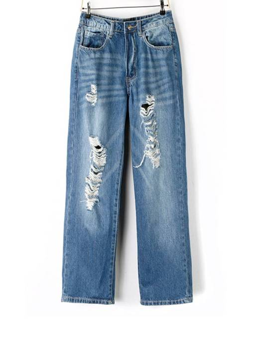 Loose High Waist Hole Women's Destroyed Jeans
