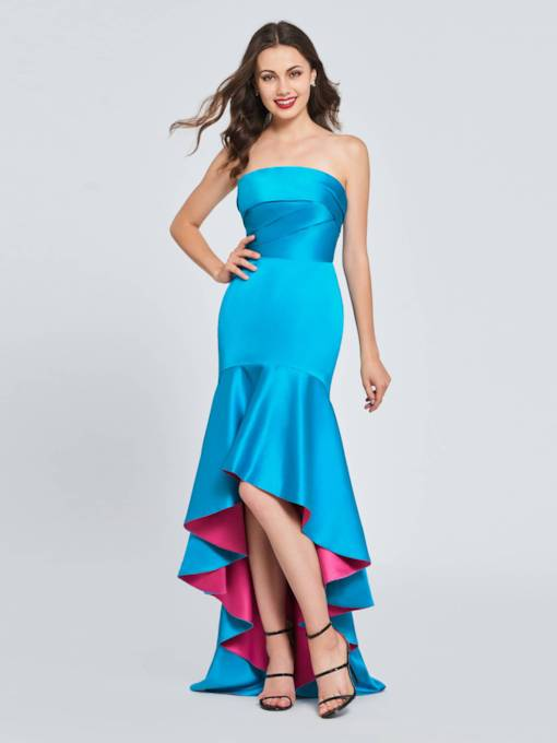 Strapless Trumpet Pleats Ruffles Homecoming Dress