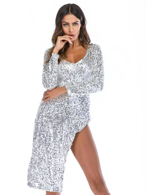 Long Sleeve Sequins Split Party Dress