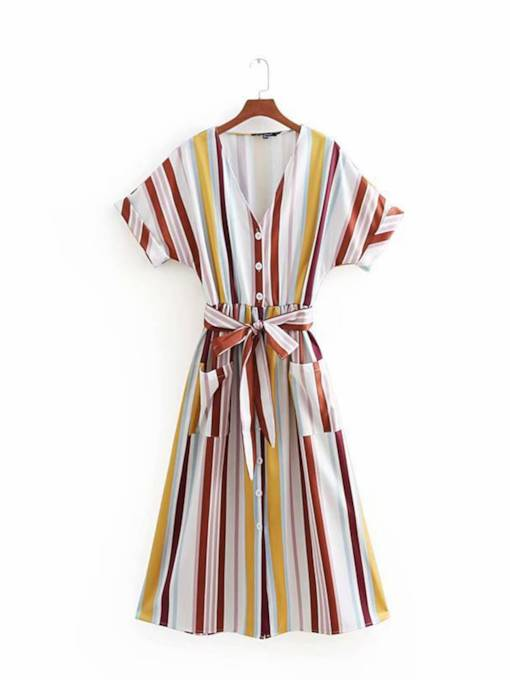 V-Neck Button Stripe Women's Day Dress