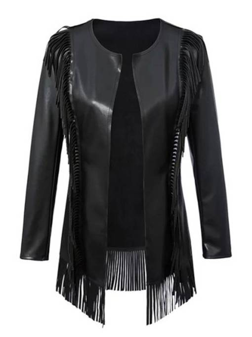 Open Front Mid Length Tassel Women's PU Jacket