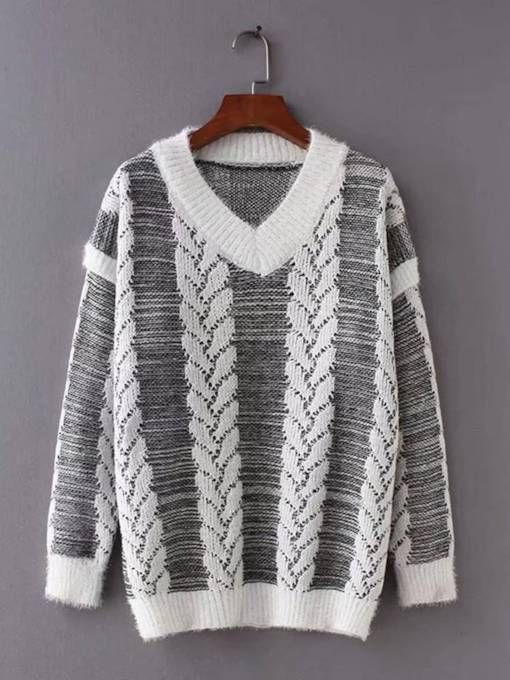 Plain V Neck Stripe Women's Sweater