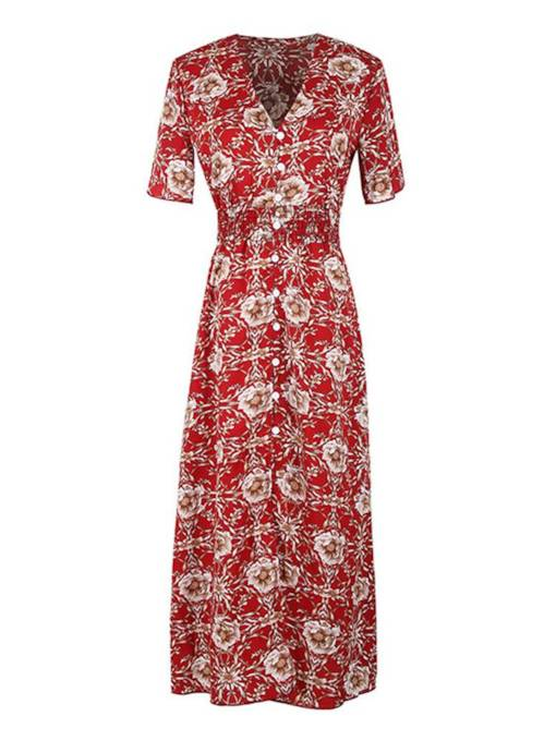 Floral Printing Short Sleeve High Waist Maxi Dress